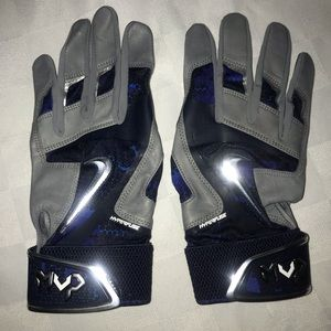 New L NIKE MVP Blue Gray Baseball Batting Gloves